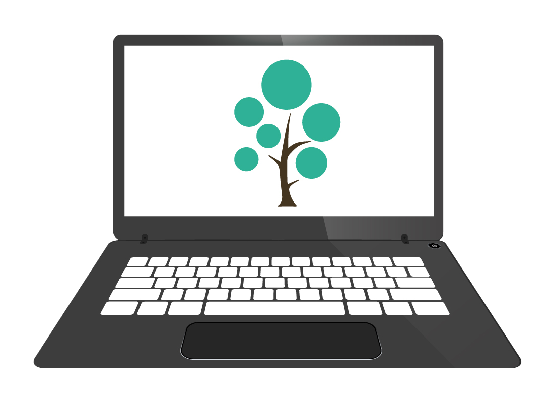 An illustration of a family tree being created using the internet