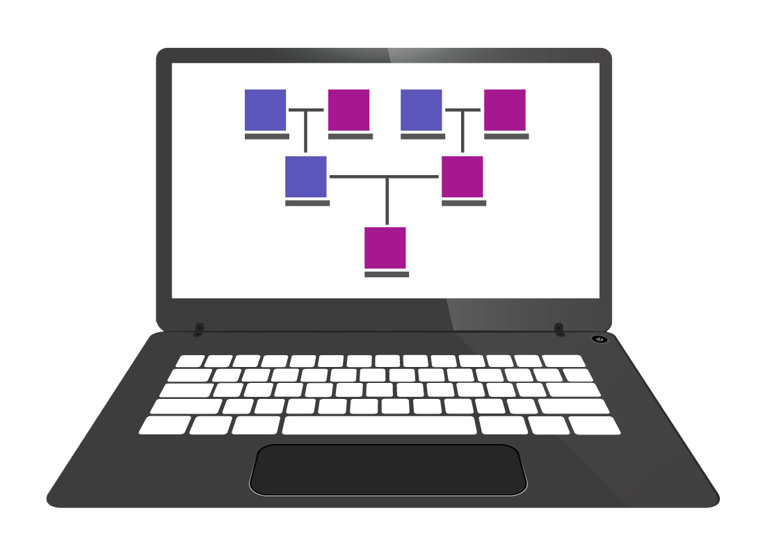 An illustration of links between people in a typical online family tree website