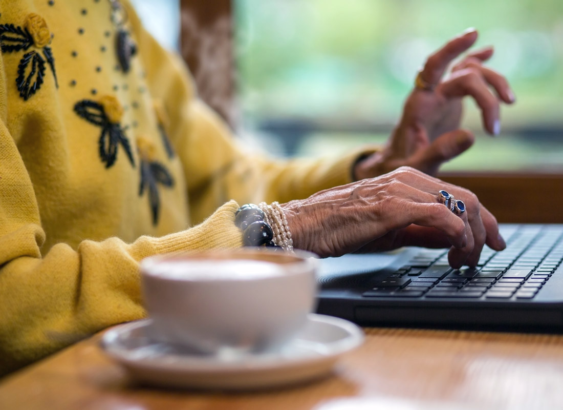 A few minutes over a cup of coffee updating the latest information into an online family tree