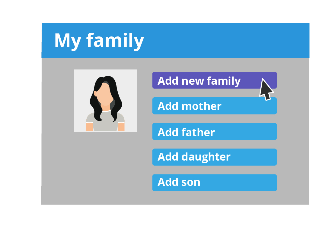 An illustration of an option to add new details to a family tree online