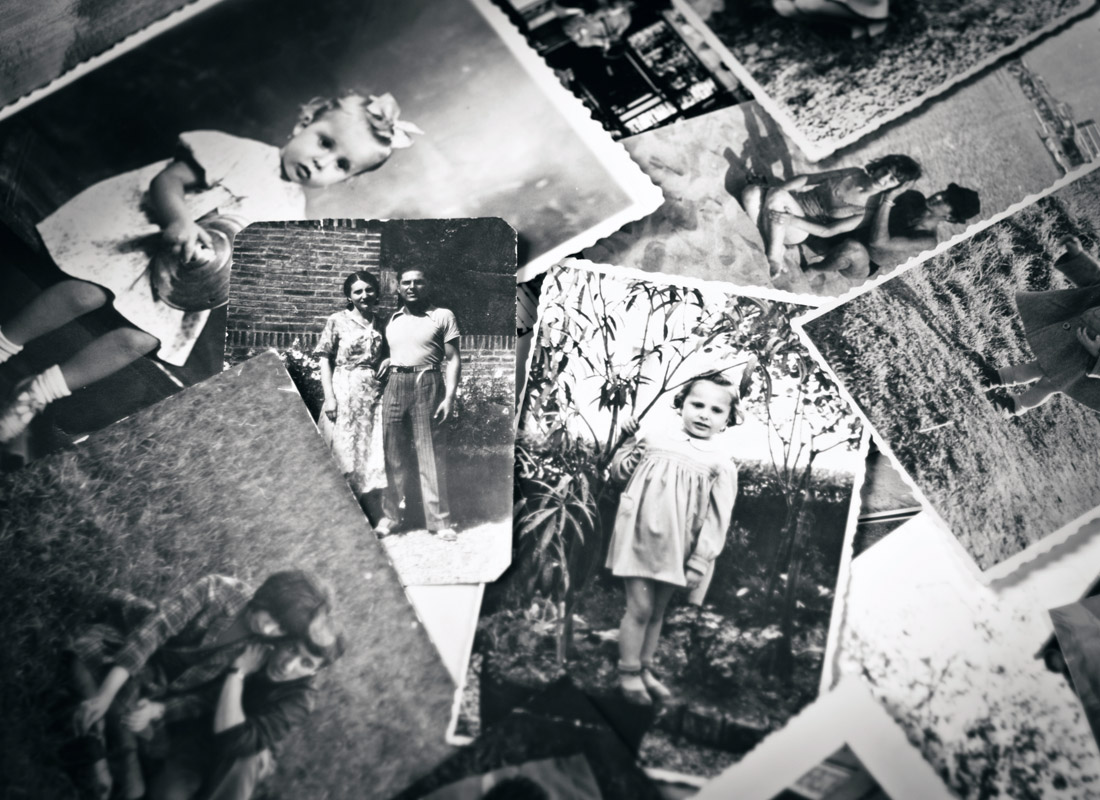 A collage of black and white family photos