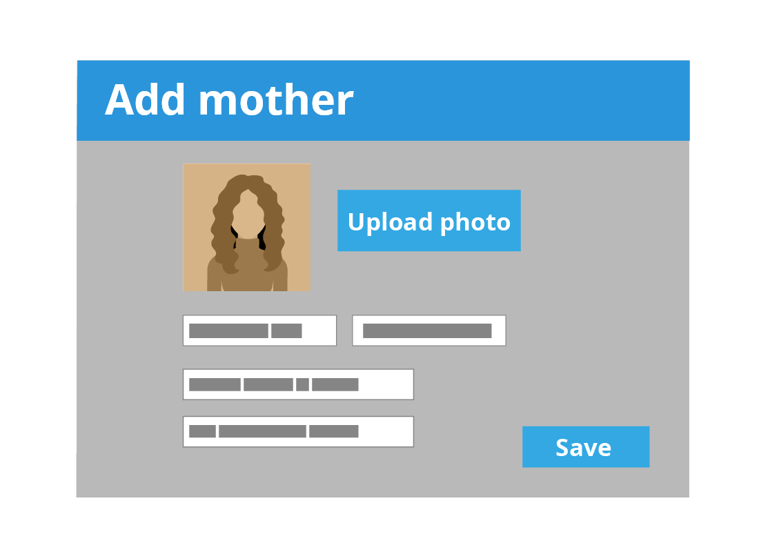 An illustration of how a typical online family history site allows you to add more details to your tree