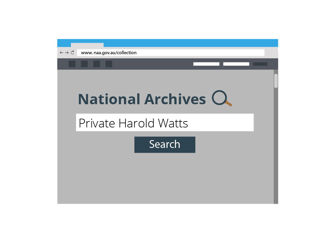 An illustration of a search for a serviceman on the National Archives website