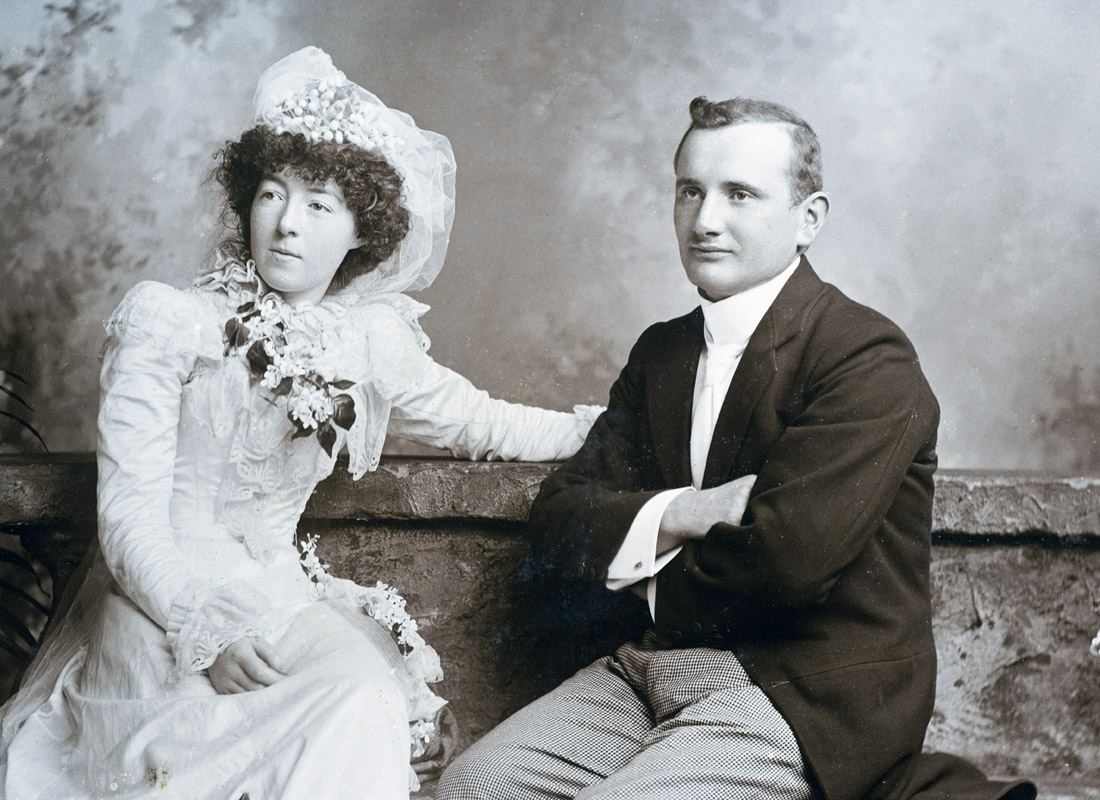 An historical wedding photo, typical of the late 19th Century