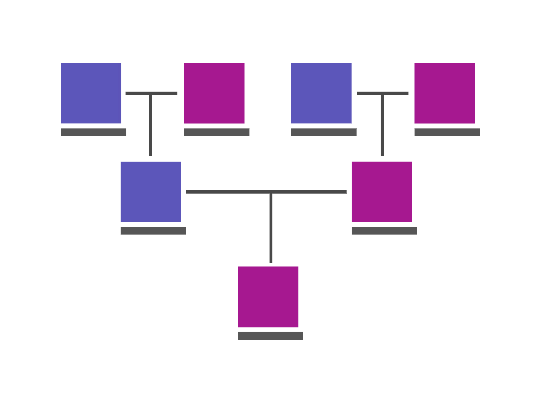 An illustration of a family tree showing the links between relatives