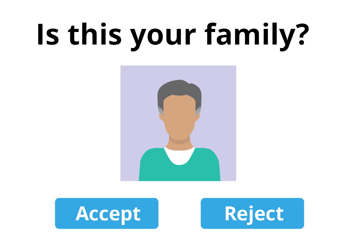An illustration of an option to add or reject a suggested family member from the online website