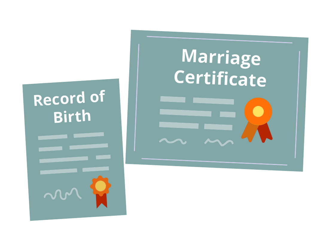 An illustration of birth and marriage certificates