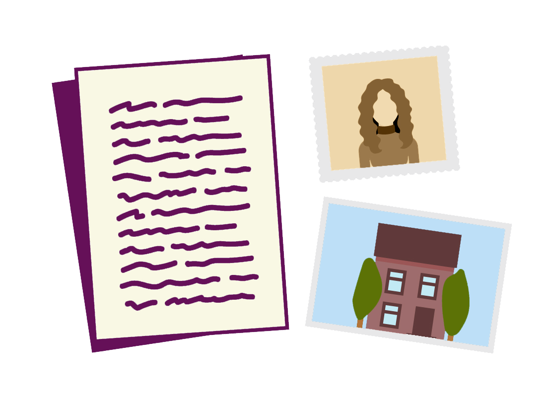 An illustration of notes and family photos that you might have at home ready to start your family history research