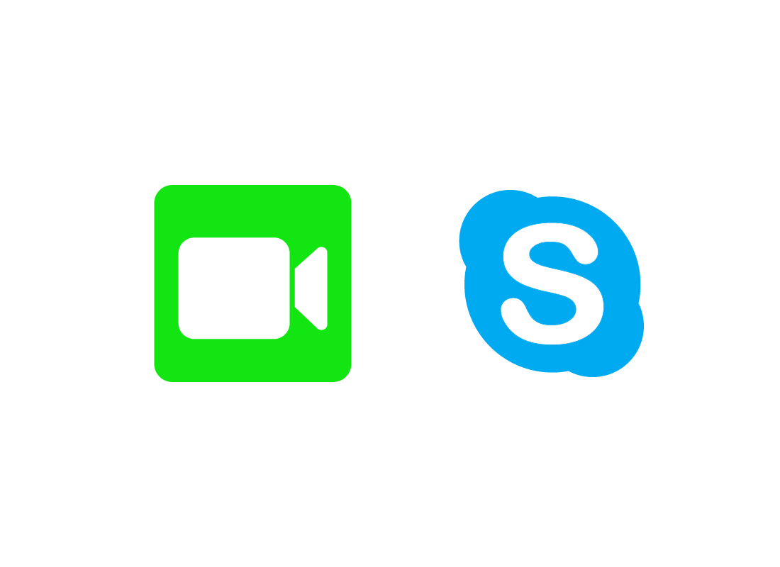 Icons for FaceTime and Skype - two popular video chat tools