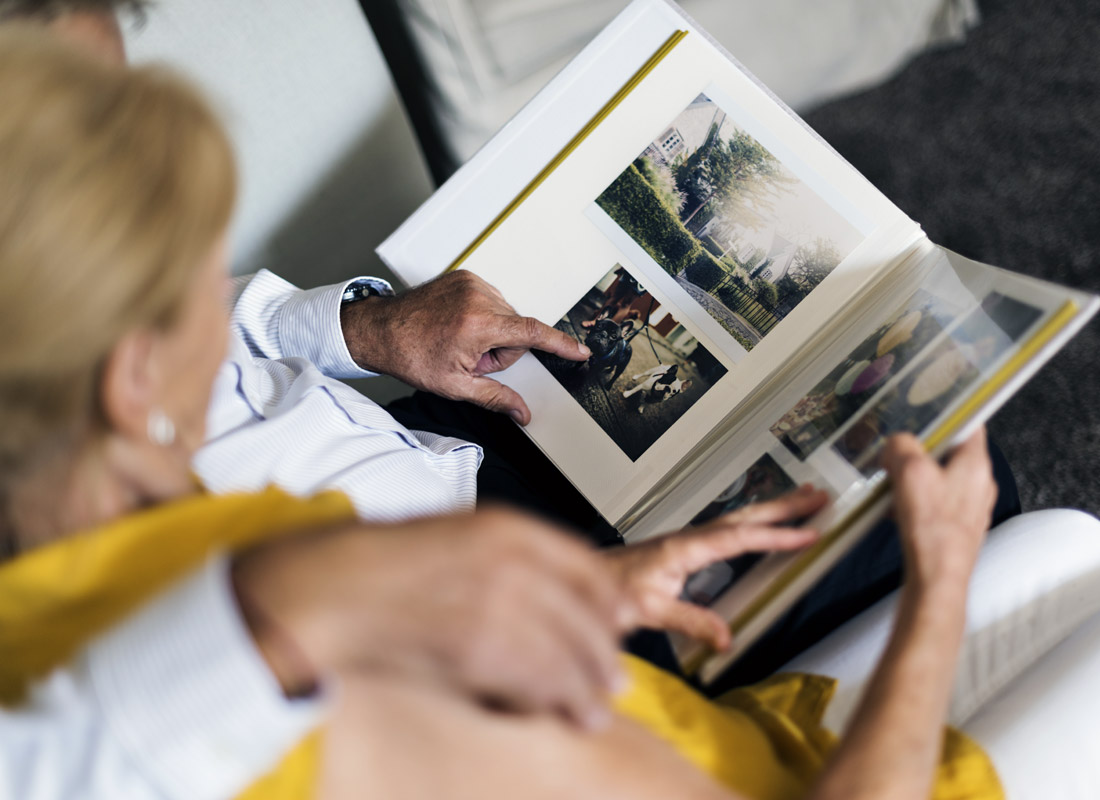 Reliving family moments over a photo album
