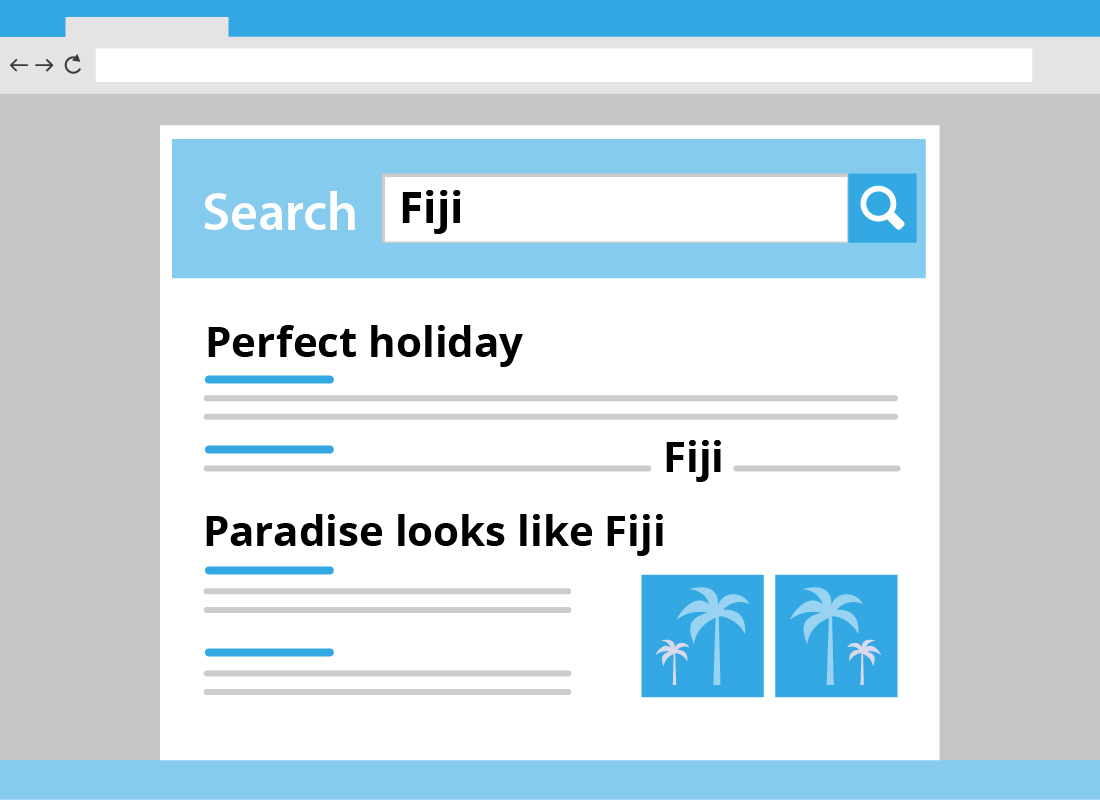 An illustration of a search field looking for 'Fiji' in a list of blog posts