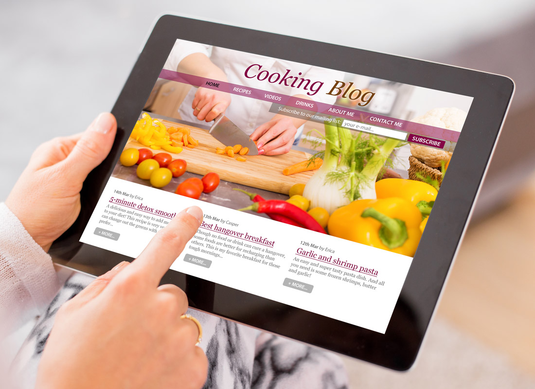 A cookery blog on a tablet device
