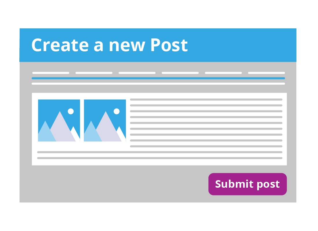 An illustration of a new post for your blog with the 'submit post' button waiting to be clicked