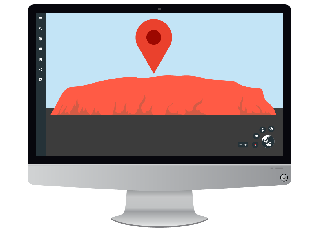 An illustration of Google Earth with Uluru as the location being shown on the screen.