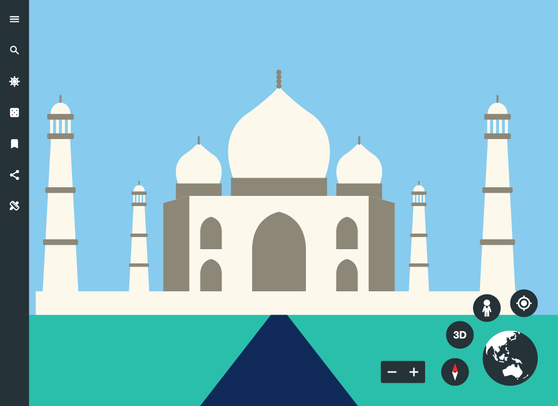 An illustration of Google Earth with the Taj Mahal in India as the location being shown on the screen.