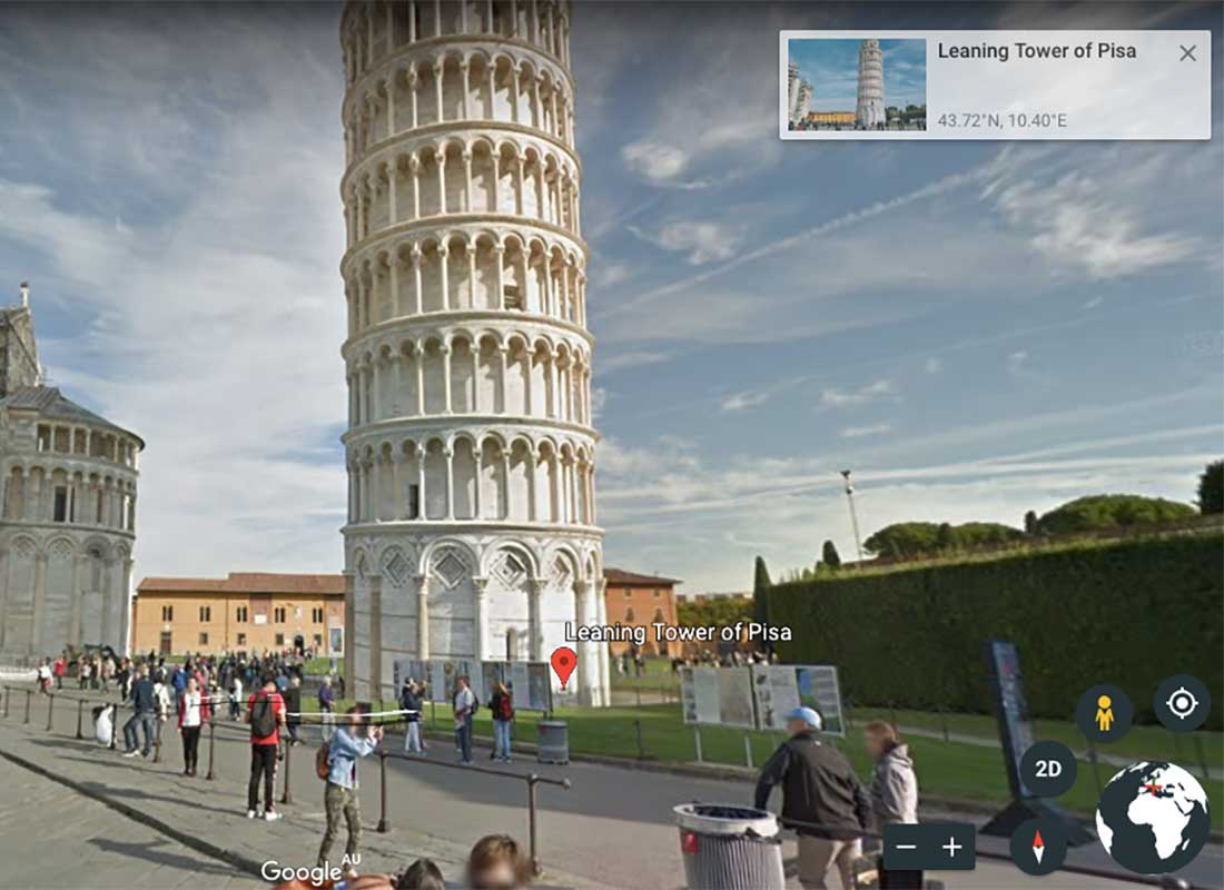 A screenshot of a virtual walk around the Leaning Tower of Pisa. You can see the people, the landmarks and the area around the Tower in amazing detail. This shows what the Tower looks like when you are using Google Earth's street view function.