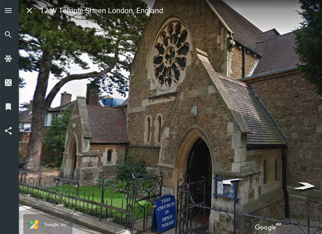 A screenshot of an old Church in England. This shows what the church looks like when you are using Google Earth's street view function.