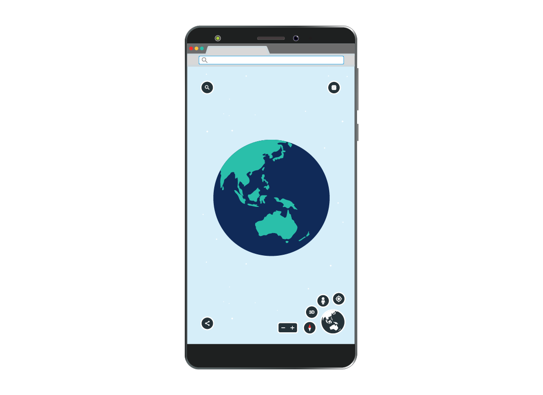 An illustration of how Google Earth looks on a mobile device.