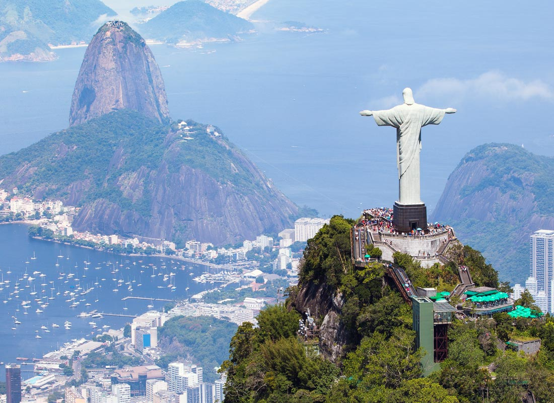 A photo of the Christ the Redeemer statue of Jesus Christ in Rio de Janeiro, Brazil.
