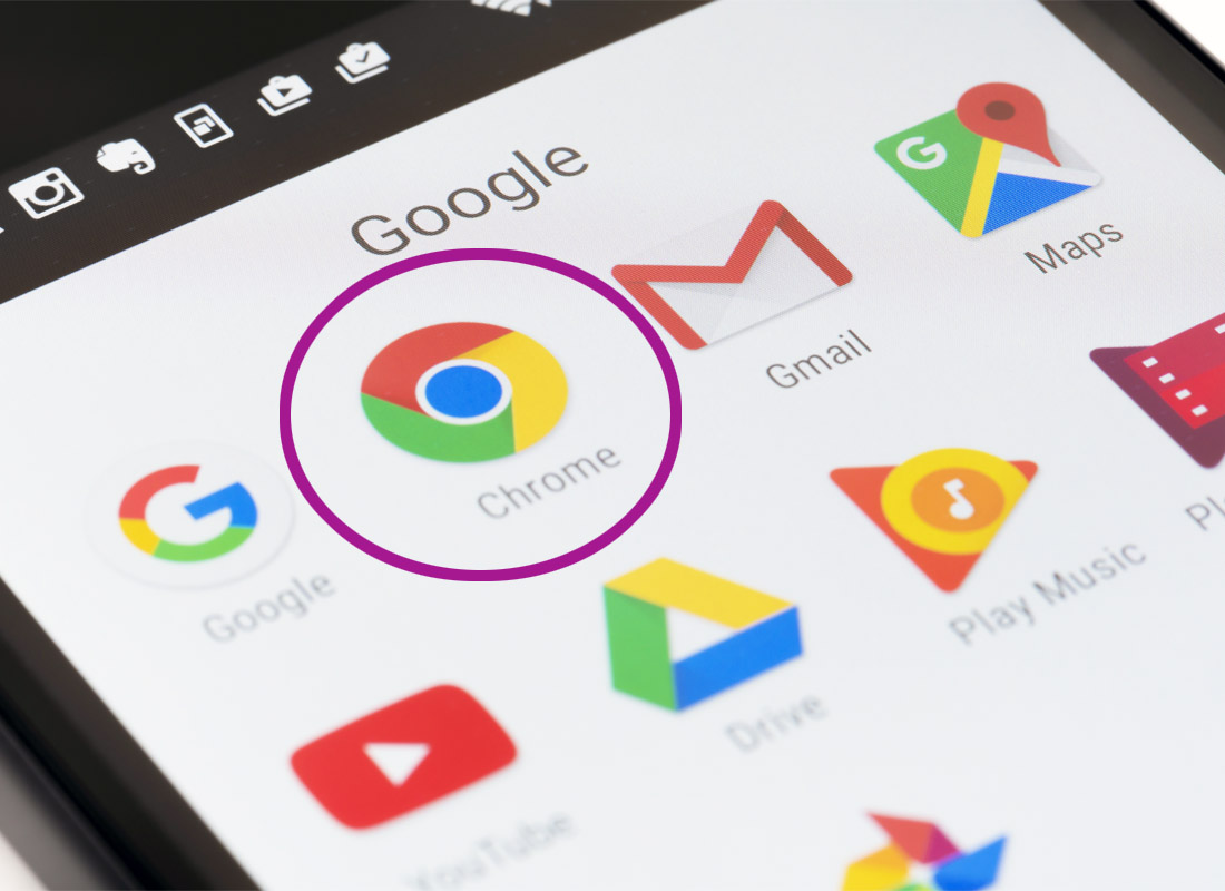 A photo of the Google Chrome icon on a screen. This shows that the device has downloaded Google's Chrome browser and it is ready to use.