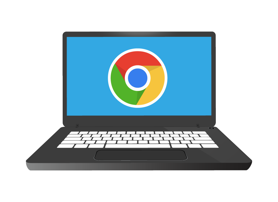 An illustration of a laptop with Google's Chrome browser icon on the screen ready to use.