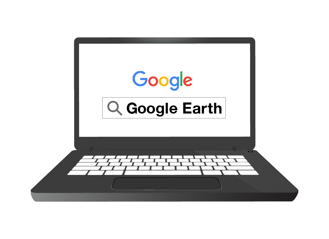 An illustration of a laptop with Google's Chrome browser open and the words 'Google Earth' in the search bar.