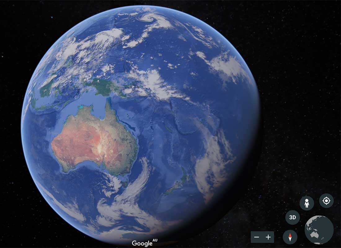 A screenshot of the Google Earth starting page, where you see the Earth from space.