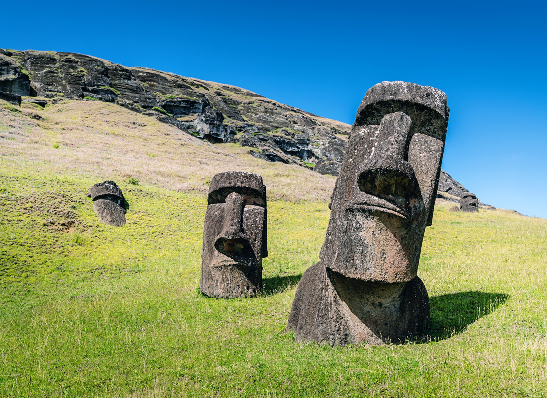A photo of the Easter Island human-faced statues.