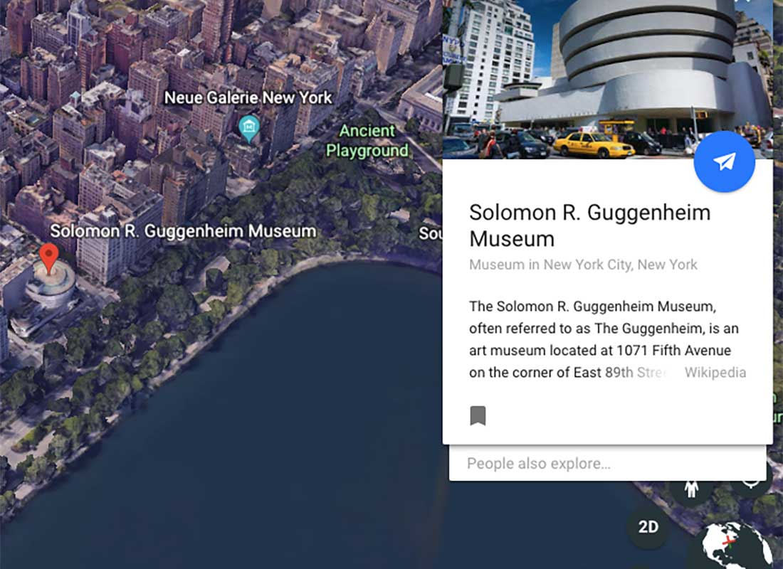 A screenshot of the Guggenheim Museum location taken from Google Arts & Culture