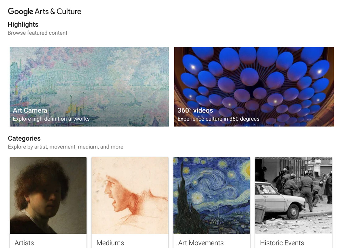 A screenshot from the Google Arts & Culture website with just a few highlights on offer