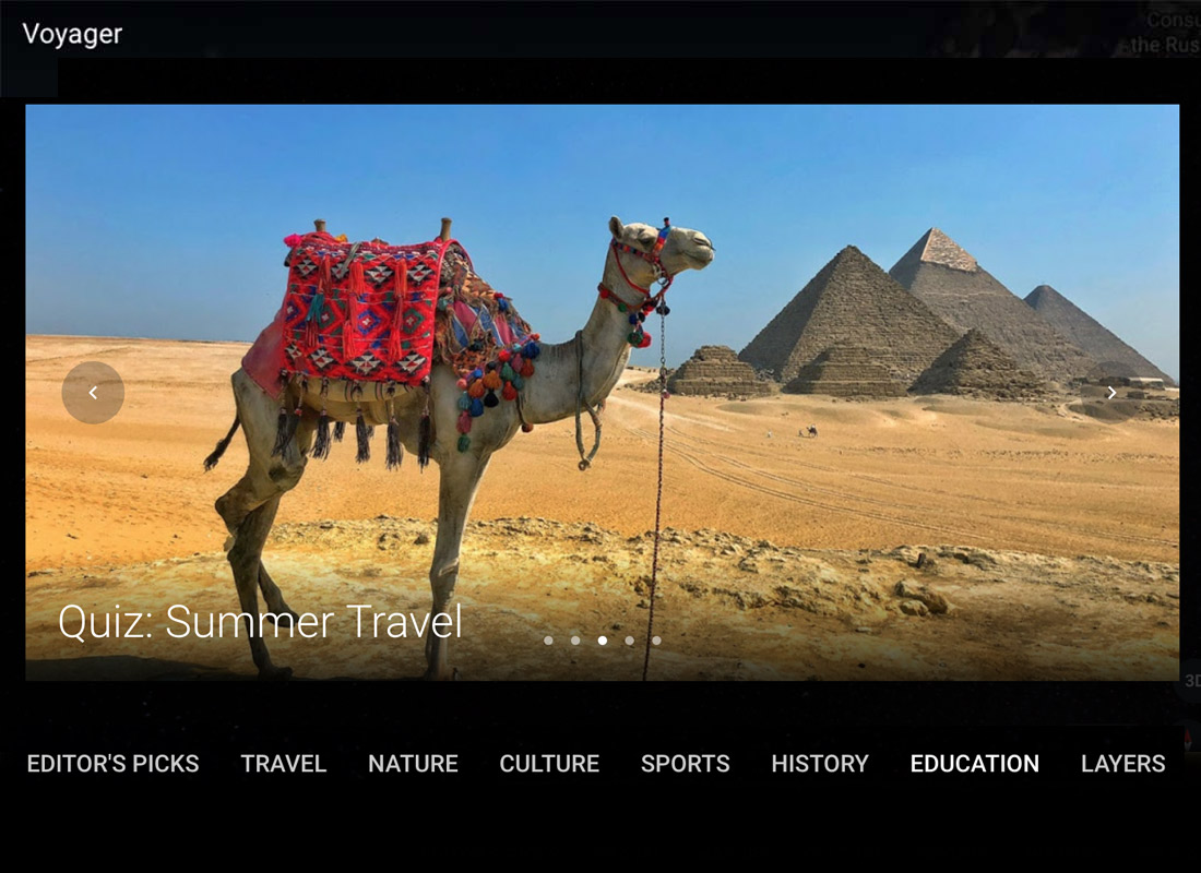 An example of a Google Voyager quiz - this one's on Egypt