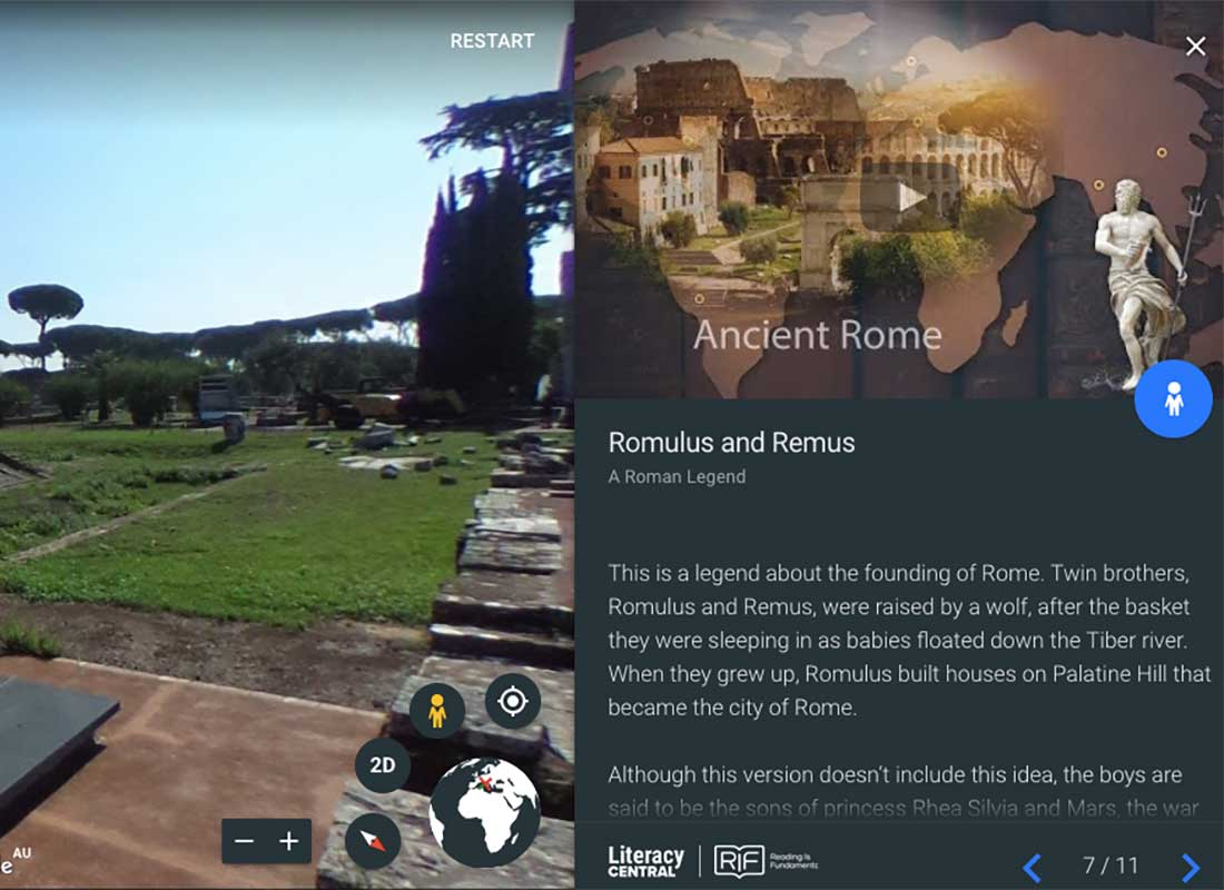 A screenshot of an interactive voyage following Romulus and Remus