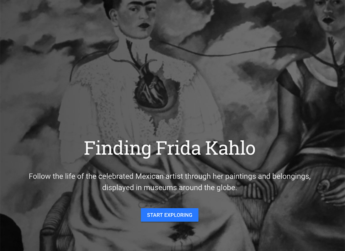 An example of other areas of interest in Google Voyager, including artist, writers and music. This screenshot is of Frida Kahlo's page
