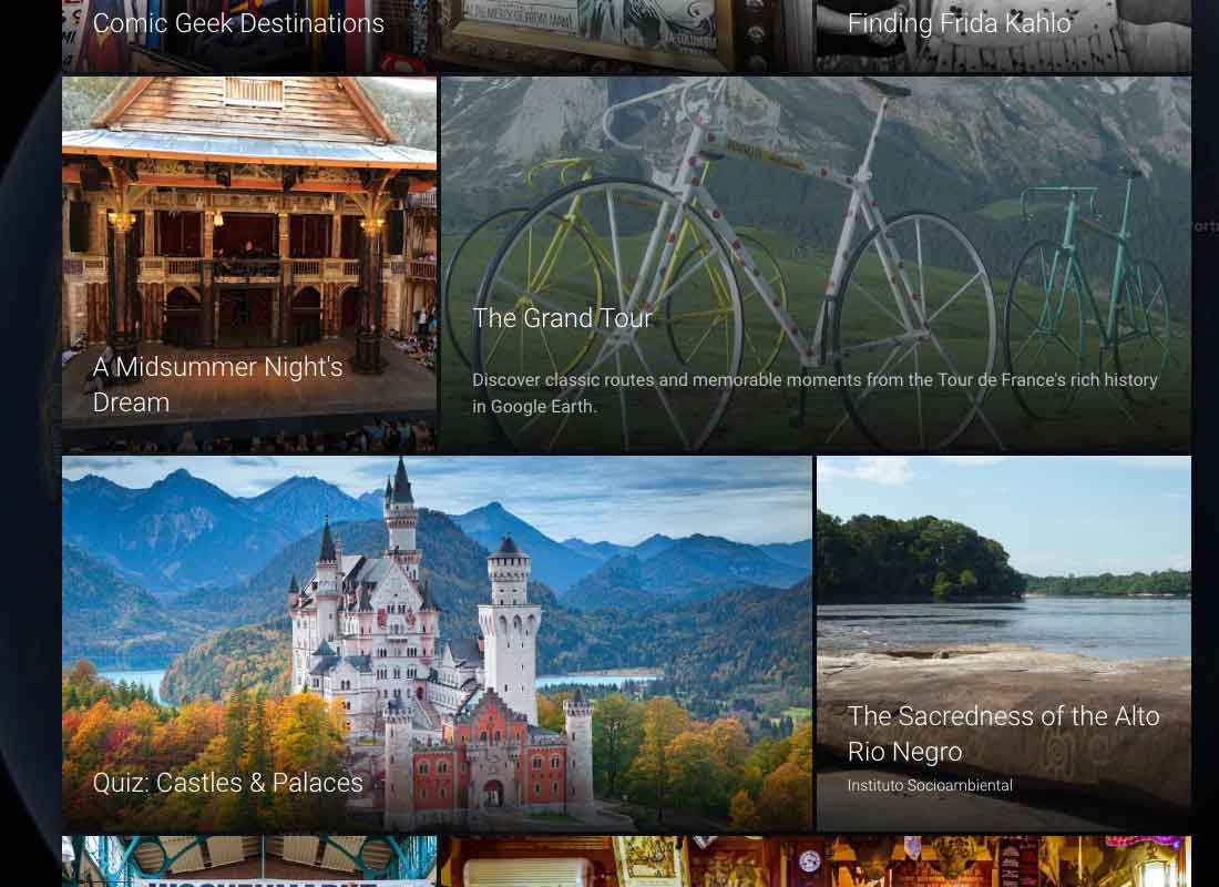 A screenshot of some of the other adventures you can take with Google Voyager, including tours and quizzes