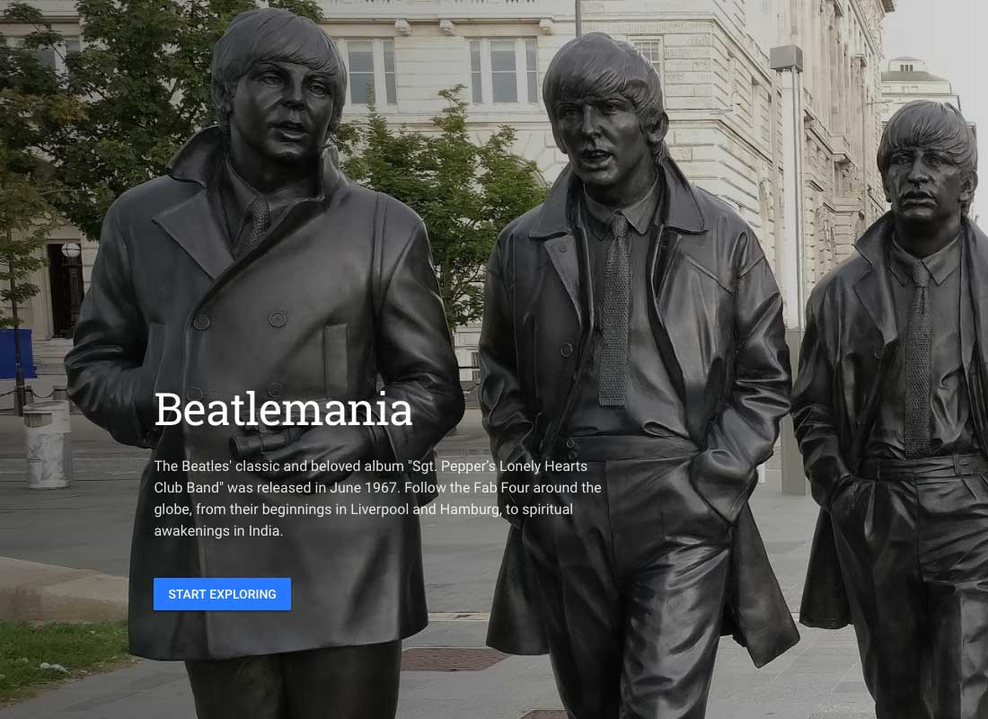 A page dedicated to The Beatles on the Google Arts & Culture website