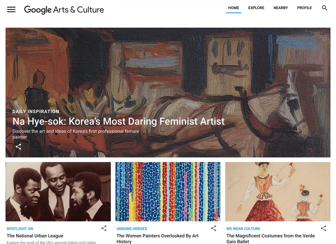 A screenshot taken from the Google Arts & Culture website home page