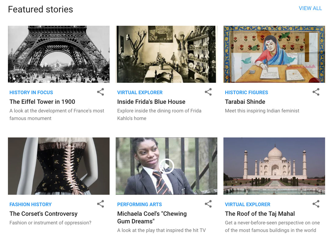 Some of the featured stories on the Google Arts & Culture website