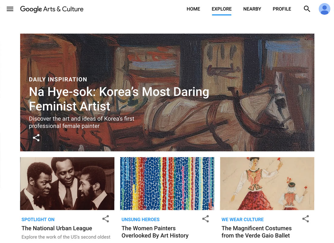 Some of the items you can explore on the Google Arts & Culture website