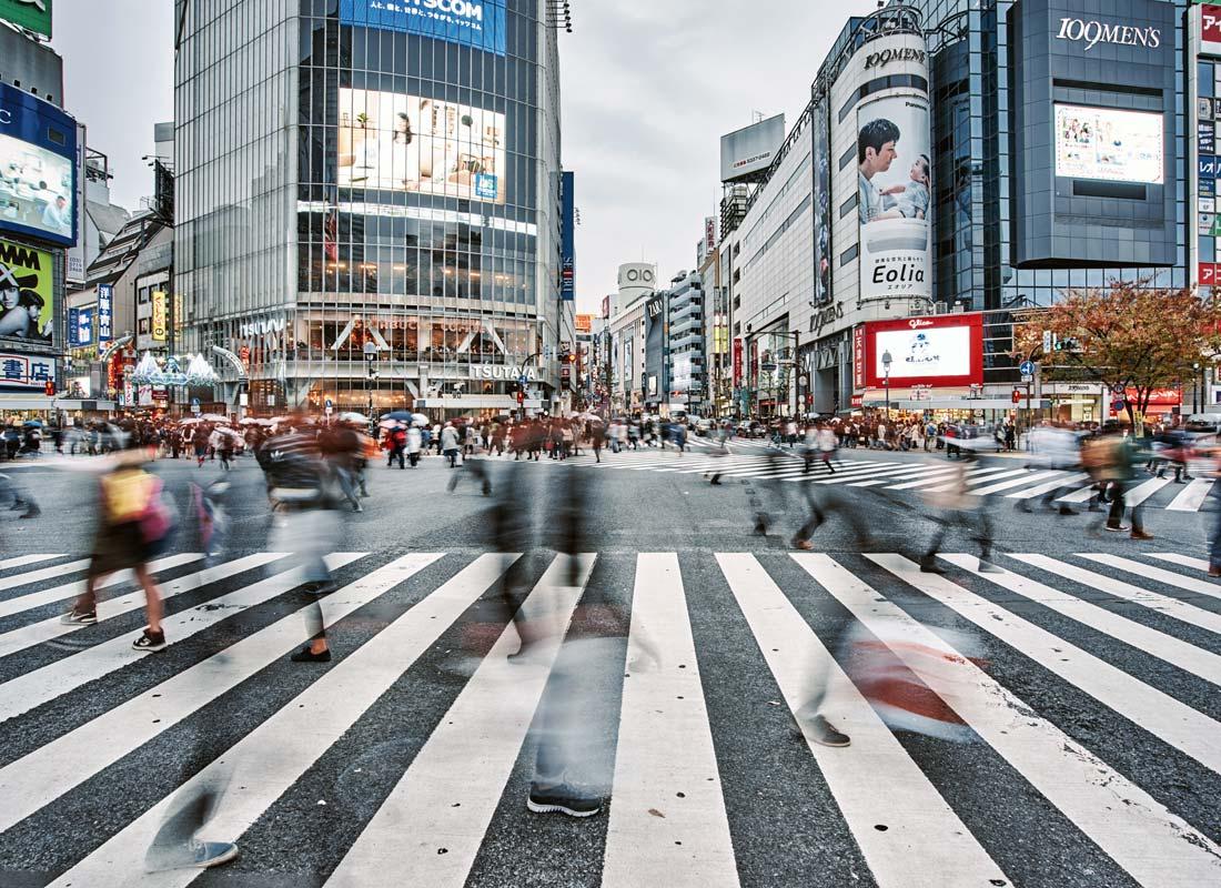 The infamous zebra crossings at Shibuya, Tokyo