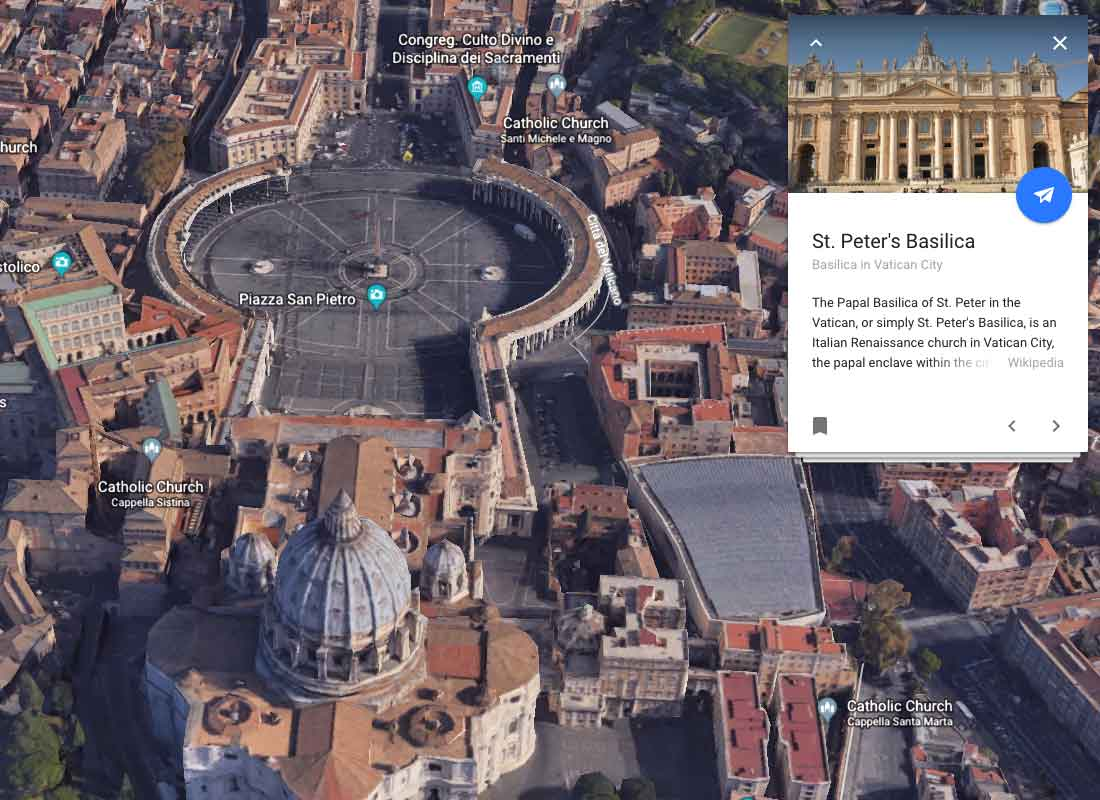 St Peter's Piazza in the Vatican City taken from Google Earth