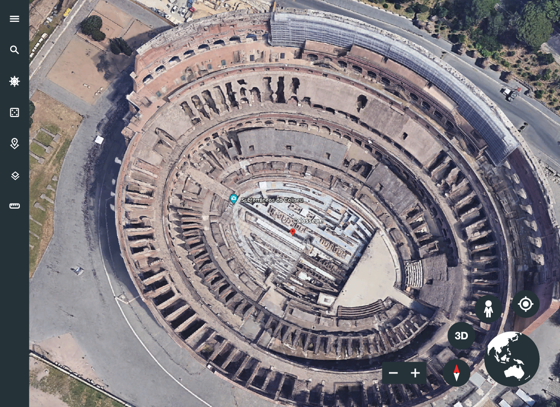 A bird's eye view of the Colosseum in Rome