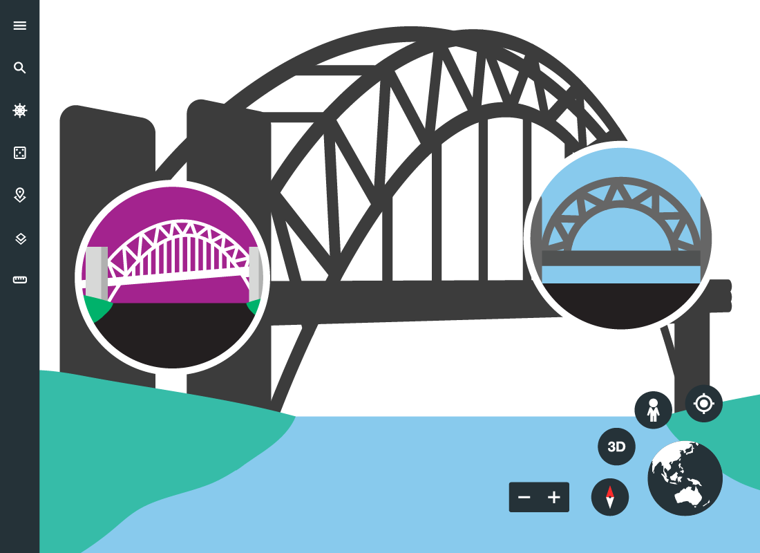An illustration of Sydney Harbour Bridge showing additional photos uploaded by other visitors