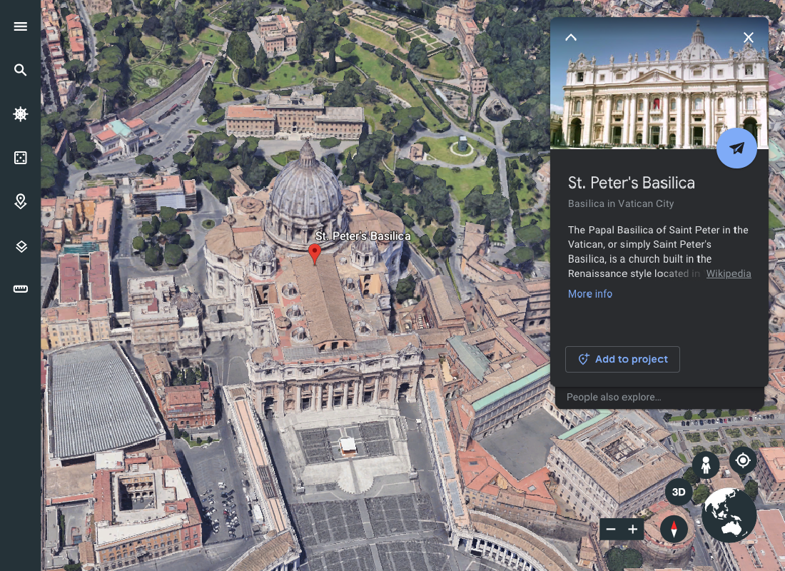 St Peter's Basilica in the Vatican City taken from Google Earth