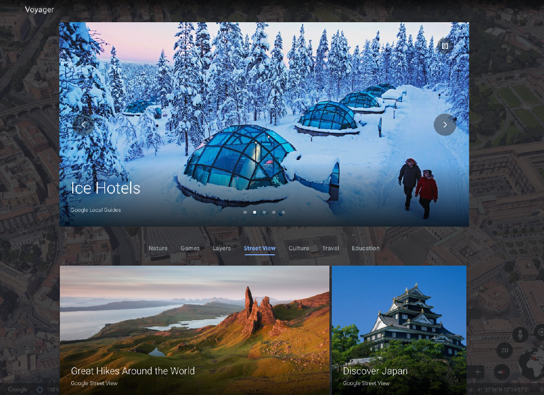A glimpse of some of the content available on Google Voyager