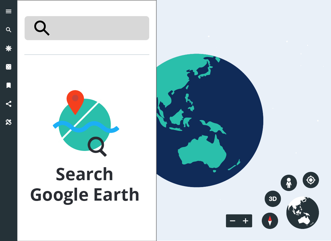 A close up of the Google Earth Search bar