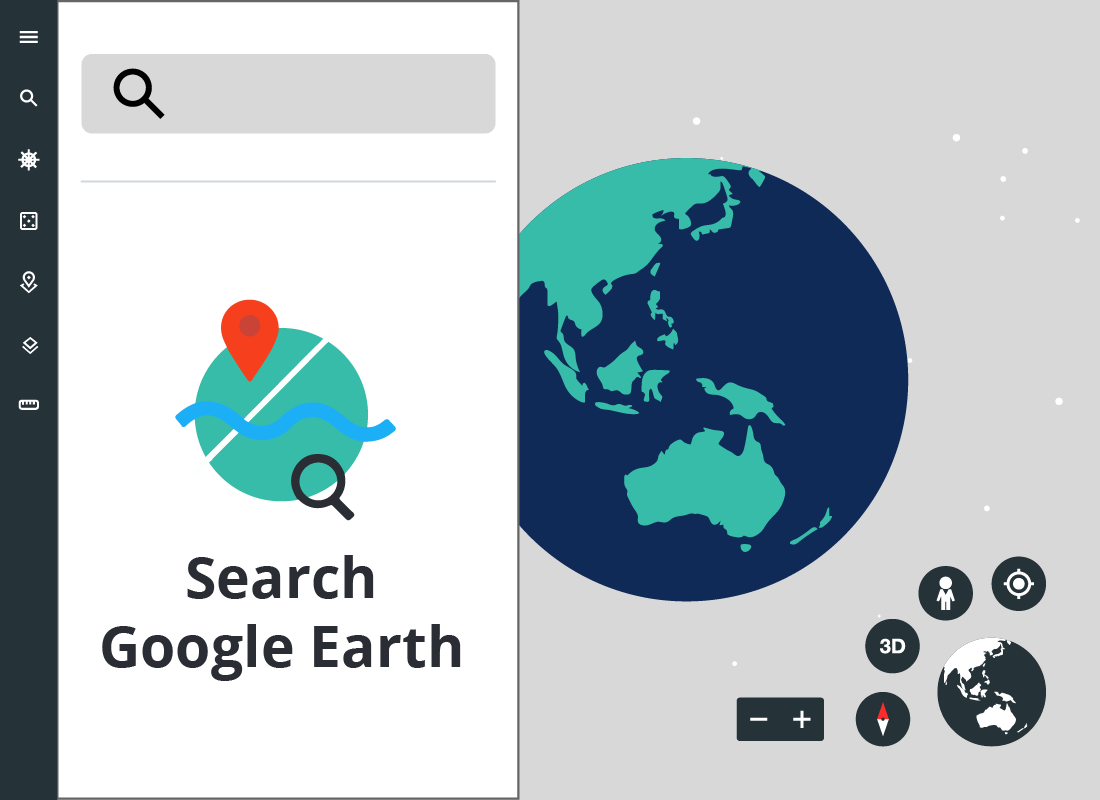 An illustration of the Google Earth control menu open at the Search panel