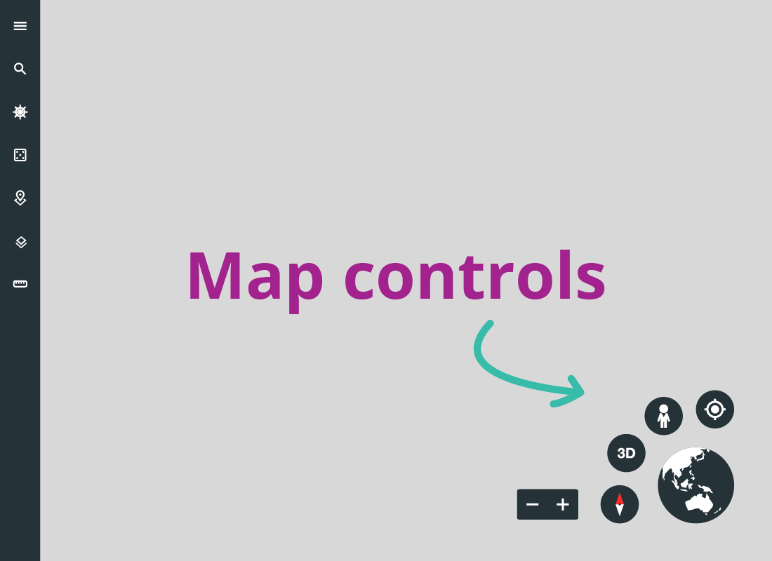 An illustration on where to find the Google Earth map controls