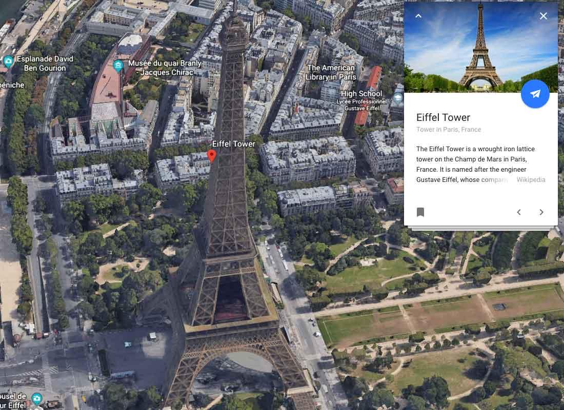 A screenshot of Google Earth showing points of interest around the Eiffel Tower in Paris.