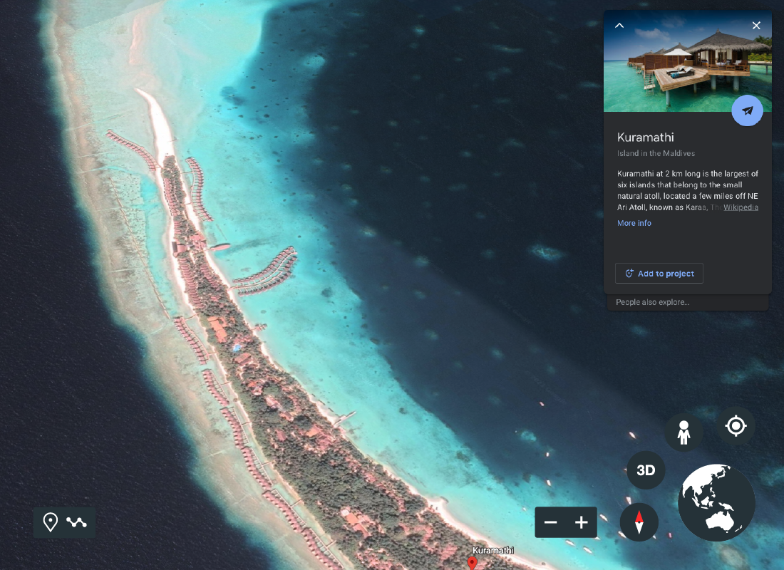 A screenshot of Google Earth showing an island in the Maldives with some information about the island the surrounding area.