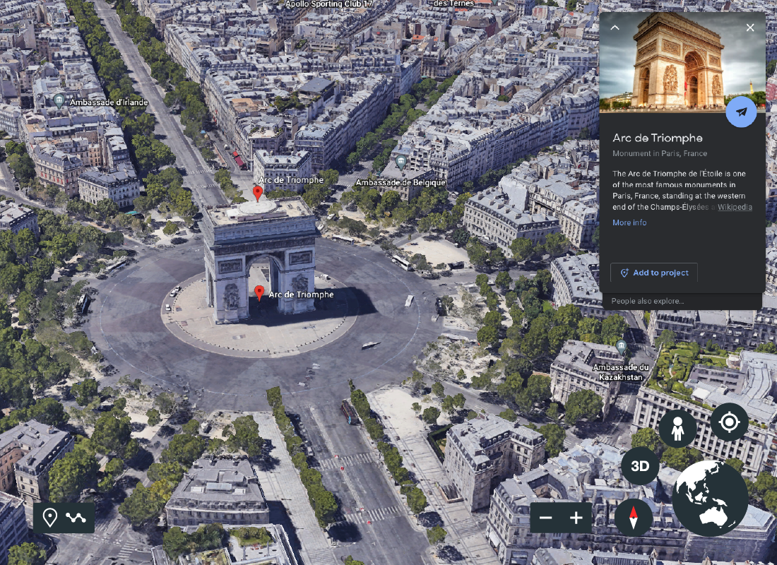 A screenshot of Google Earth showing an aerial view of the Arc de Triomphe in Paris.